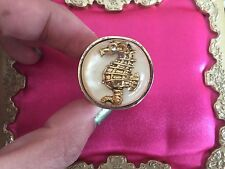 Betsey Johnson Vintage HUGE White Lucite Dome Gold Seahorse Nautical Bubble Ring