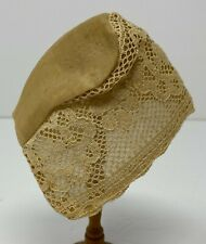 Vintage Antique Doll Tan Organdy & Lace Overlay Bonnet Hat