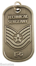 "AIR FORCE TECHINICAL SERGEANT  E-6 ENGRAVABLE REGULATION METAL DOG TAG 24"" CHAIN"