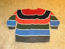 The Children's Place Toddler Boys Blue Red Green Stripe Button sweater 18 months