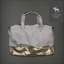 ABERCROMBIE & FITCH Women Shimmer Duffel Weekender Gym Bag DUFFEL Gold Trim