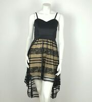 High Low Women's Dress With Double Layer Laced Black Dress