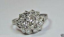 Antique Vintage Art Deco Diamond Engagement Platinum Ring Sz 6.5 UK-M1/2 EGL USA