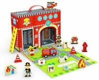 Tooky Toys Estación de Bomberos Caja 18 Pieza Juego Juguete Madera & Accesorios