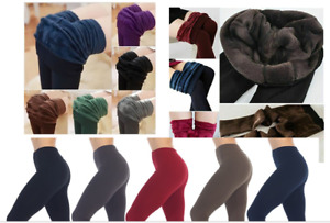 Ladies Thick Winter Thermal Leggings Fleece Lined Warm High Waist  SIZE 6 TO 16