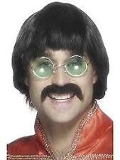 1970s Black Liverpool Mersey Comedy Wig And Moustache Fancy Dress