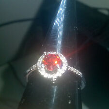 ELEGANCE STYLE RUBY RED CREATED SAPPHIRE RING SIZE T