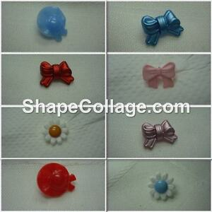 Buttons, children's novelty, bows, hats or flowers. 6, 8 or 10