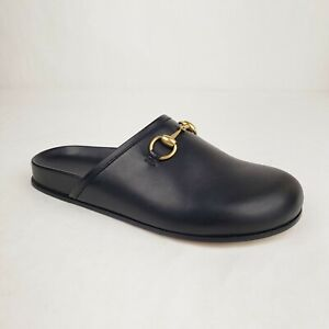 Gucci Men's Black Leather Slip On Shoe with Gold Horsebit 6 / US 6.5 449922 1000