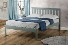 Birlea Denver Small Double Bed Frame Solid 120cm 4FT Grey Wood Shaker Style