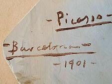 Pablo Picasso Original dog portrait 1901 rare oil painting hand signed No print