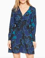 Parker Bernette Black Blue Green Floral Print Knot Gathered Dress Size 4 V Neck