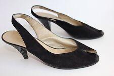 SANDRO VICARI femme cuir noir bout ouvert escarpins UK 6 EU 39