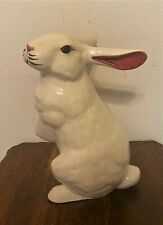 """GAIL PITTMAN Signed Painted Pottery 1993 - White Easter Bunny Rabbit - 13"""""""