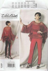 Vogue Sewing Pattern V1491 Miss Zandra Rhodes Handkerchief Hem Tunic Pants 4-14