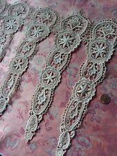 "6 large FLORAL LACE antique French Schiffli Victorian motifs dolls 13"" long!"