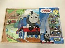 Thomas & Friends 4 Wood Puzzles Train Railroad Children's Puzzle Storage Box New
