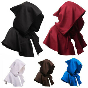 Medieval Unisex Hooded Cape Short Cloak Mantle Hat Priest Monk Halloween Costume