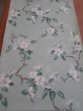 "Vintage 40's 50's Roll Remnant of Imperial Wallpaper ~ Green Floral ~ 19"" x 2'"
