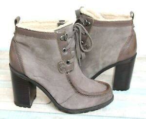 Sam Edelman GRAY BROWN NUBUCK LEATHER CHUNKY HEEL LACE UP FUR ANKLE BOOTS Sz 6