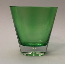 Green Tinted Bubble Glass Bottom Contemporary Oval Vase / Hand-Crafted