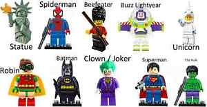 Mini Figures fit Lego - Statue of Liberty, Beefeater, Unicorn, Buzz, Spiderman