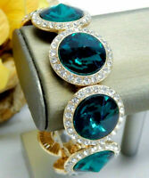 Vintage big gold tone Green crystal rivoli rhinestone bangle stretch Bracelet