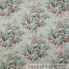 BonEful Fabric Cotton Quilt VTG Red Blue Flower Rose Toile Shabby Chic OOP SCRAP