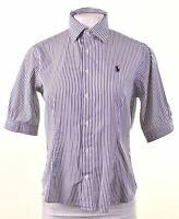 RALPH LAUREN Womens Shirt Short Sleeve Size 8 Small Blue Striped Cotton  AP15