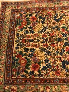 Vint Oriental Wool Prayer rug hand made fringe colorful 36 - 23 inch throw door