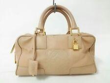 Auth LOEWE Amazona Beige Leather Handbag