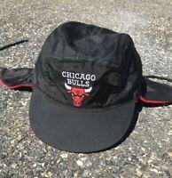 Vintage Chicago Bulls NBA Basketball Rare Fleece Lined Trapper Style Hat Cap