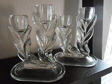 VINTAGE CLEAR GLASS TULIP DOUBLE CANDLESTICKS SET of 2 - NICE PREOWNED CONDITION