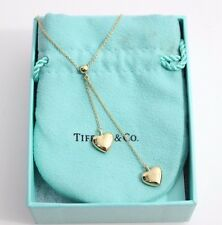 Tiffany & Co. 18K Yellow Gold Double Puffed Heart Dangle Necklace