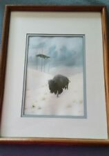 "Donald Vann Print 838/2400 matted HIGH COUNTRY""WINTER"" BUFFALO SACRED BURIAL"