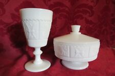Westmoreland Milk Glass Princess Feather Candy PG-10 & Goblet  PG-19 LIne 201
