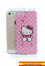 Funda carcasa rígida Apple Iphone 5 / 5S dibujos Hello Kitty rosa cuadros