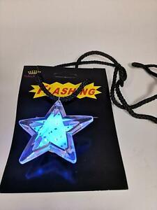Flashing Blue LED Light Clear Star Necklace Light-Up Blinking Pendant Safe US