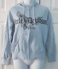 Harley Davidson New York light blue hoodie hooded zip up sweatshirt top shirt S