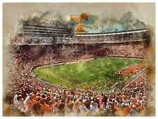 """Tennessee Volunteers Poster Watercolor Art Print Man Cave Decor 12x16"""""""