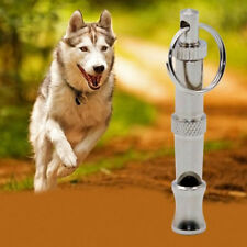 Pet Dog Training Adjustable Ultrasonic Sound Silver Whistle Keychain Pitch New