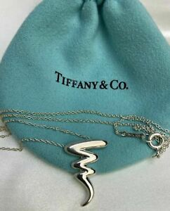 Tiffany & Co. Silver 925 Paloma Picasso Scribble Zig Zag Pendant W 18in Necklace