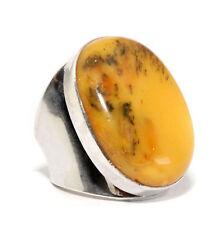 Antik Baltisch Bernstein Ring mit 925 Silber Eigelb Größe 19.8 mm Ø Unikat Amber
