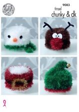 CHRISTMAS  TOILET ROLL COVERS TINSEL YARN TOY KNITTING PATTERN  KING COLE 9083