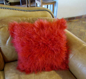 """100% Real Mongolian Fur Square RED Pillowcase CoverSeat Pillow Cushion 18 X 18"""""""
