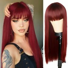 24inch Cosplay wig with bangs Women Wine Red Synthetic hair Fashion Full Head