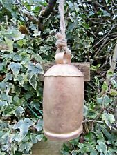 Fair Trade Hand Made Large Metal Rustic Indian Cow Bell On Rope Sea Buoy Sound