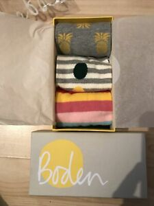 Boden Ladies Spotty Stripe Pineapple Set Ankle Socks Pack of 3 Brand New in Box