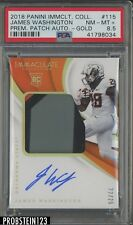 2018 Immaculate Collegiate Gold James Washington RPA RC Patch AUTO 22/25 PSA 8.5