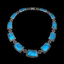 925 Sterling Silber Halskette / Collier, Natural BLAU TÜRKIS-MARKASIT, Neu